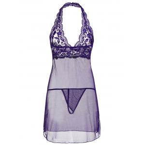 Lace Sheer Halter Backless Babydoll - Pourpre M