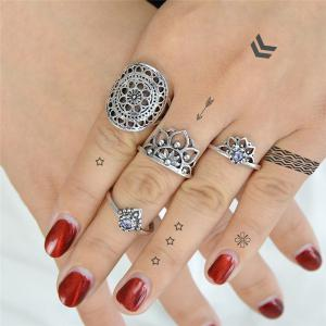 Alloy Rhinestone Flower Finger Ring Set