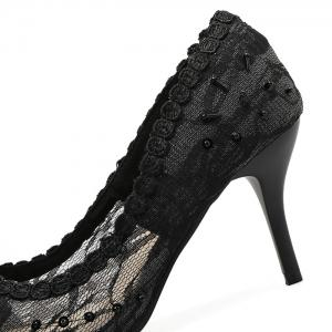 Lace Beading Pointed Toe Pumps - BLACK 37