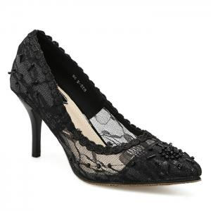 Lace Beading Pointed Toe Pumps - Black - 40