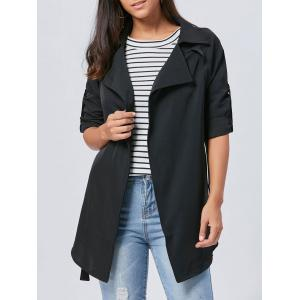 Lapel Long Wrap Coat - Black - 2xl