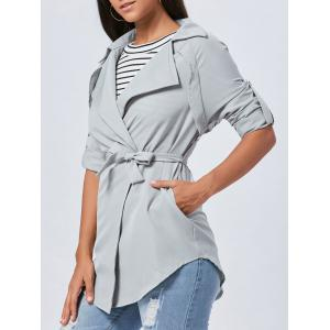 Lapel Long Wrap Coat - Gray - M