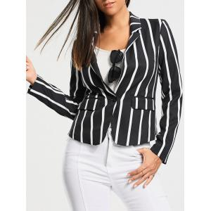 One Button Vertical Stripe Blazer - Colormix - Xl