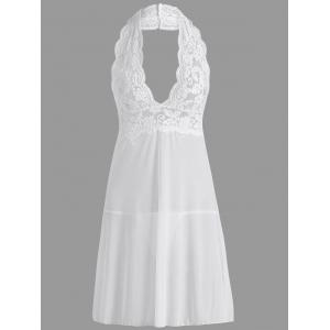 Lace Sheer Halter Backless Babydoll - White - 2xl
