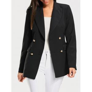 Double Breasted Plain Blazer - Black - Xl