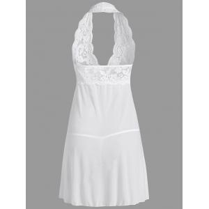 Lace Sheer Halter Backless Babydoll - Blanc XL