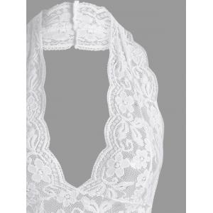 Lace Sheer Halter Backless Babydoll - Blanc L