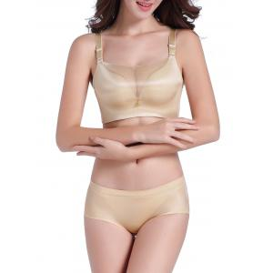 Seamless Bustier Mesh Panel Bra Set - Light Khaki - 80b