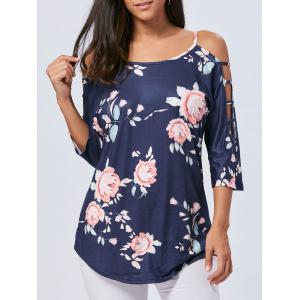 Cold Shoulder Floral Cut Out T-shirt