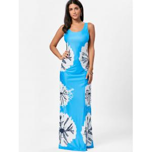 Floor Length Slit Tie Dye Tank Dress - BLUE S