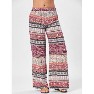 Wide Leg Totem Floral Print Pants - Colormix - One Size