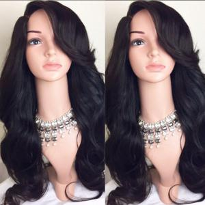 Deep Side Part Long Wavy Synthetic Wig - Black - 28inch