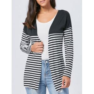 Long Two Tone Striped Panel Cardigan - Black - S