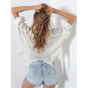 Hollow Out Short V Neck Distressed Sweater - WHITE ONE SIZE