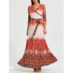 Bohemia Print Belted Maxi Surplice Dress