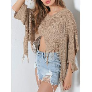 Hollow Out Short V Neck Distressed Sweater