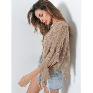 Hollow Out Short V Neck Distressed Sweater - KHAKI ONE SIZE
