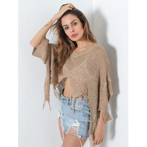 Hollow Out Short V Neck Distressed Sweater -