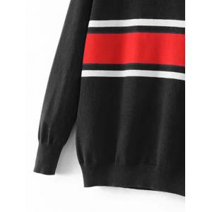 Crew Neck Striped Jumper Sweater - BLACK S
