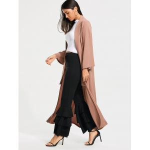 Open Front Long Maxi Cardigan - PALE PINKISH GREY S