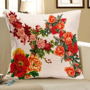 Peony Pattern Linen Square Pillow Case