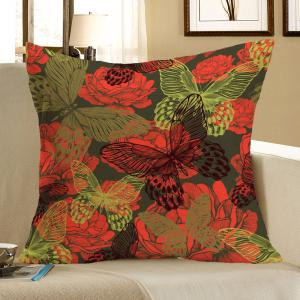 Butterfly Flowers Printed Linen Square Pillow Case - Colorful - W18 Inch * L18 Inch