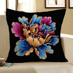 Flower Pattern Linen Square Pillow Case - Colorful - W18 Inch * L18 Inch
