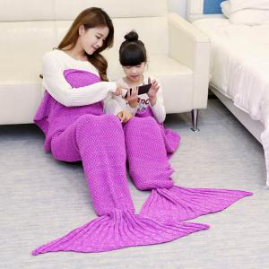 Crocheted Mother and Daughter Mermaid Blanket - Rose Madder - 180*145cm