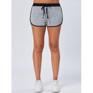 Track Mini Two Tone Drawstring Shorts - LIGHT GRAY S