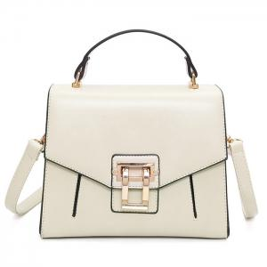 Metal Embellished Faux Leather Handbag - Off-white
