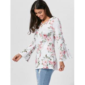 Floral Split Flare Sleeve Tunic Top - WHITE S