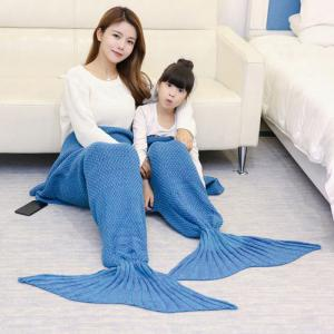Crocheted Mother and Daughter Mermaid Blanket - Light Blue - 180*145cm
