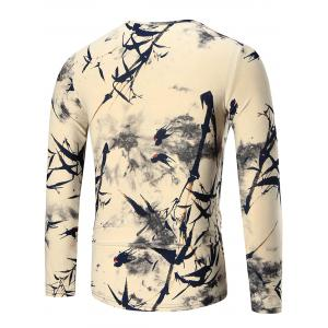 Bamboo Print Long Sleeve T-shirt - COLORMIX 2XL