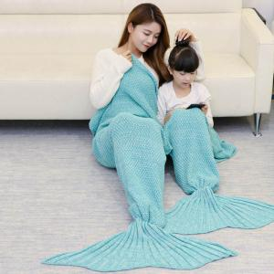 Crocheted Mother and Daughter Mermaid Blanket - GREEN 180*145CM