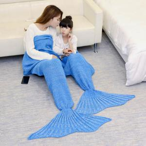Crocheted Mother and Daughter Mermaid Blanket - ICE BLUE 180*145CM