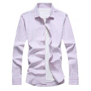 Casual Long Sleeve Vertical Stripe Shirt
