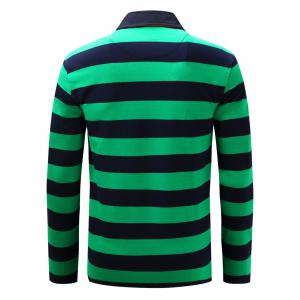 Stripe Anchor Embroidered Long Sleeve T-shirt - GREEN 3XL
