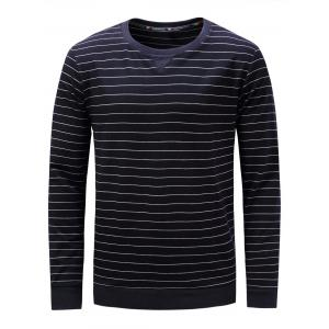 Stripe Crew Neck Long Sleeve Sweatshirt - Cadetblue - Xl