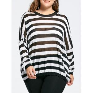Drop Shoulder Knit Plus Size Tunic Sweater - Black Stripe - One Size
