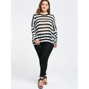 Drop Shoulder Knit Plus Size Tunic Sweater - BLACK STRIPE ONE SIZE