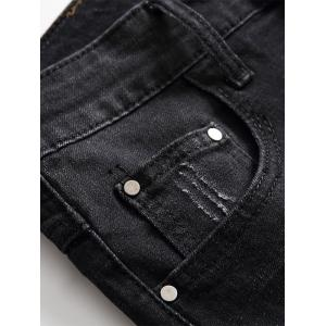 Scratched Zip Fly Denim Shorts - BLACK GREY 32