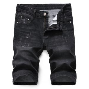 Scratched Zip Fly Denim Shorts - Black Grey - 34