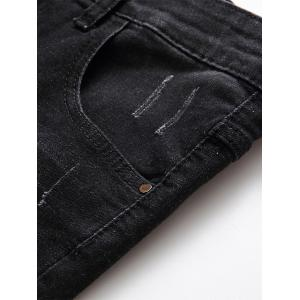 Scratched Zip Fly Denim Shorts - BLACK GREY 34
