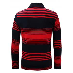 Polo Collar Long Sleeve Stripe T-shirt - BLUE AND RED 3XL