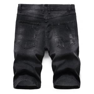Scratched Zip Fly Denim Shorts - BLACK GREY 38