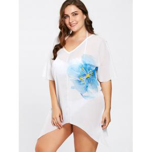 Plus Size Flower Asymmetric Tunic Cover-Up - WHITE ONE SIZE