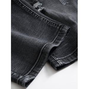 Distressed Zip Fly Denim Shorts - BLACK GREY 34