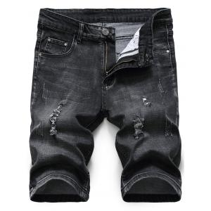Distressed Zip Fly Denim Shorts - Black Grey - 34