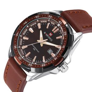 NAVIFORCE 9056 Faux Leather Strap Luminous Date Watch - BROWN LEATHER BAND+WHITE DIAL