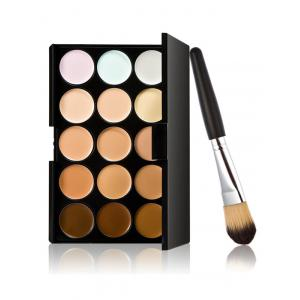 15 Colours Cream Concealer Palette with Foundation Brush - Multi